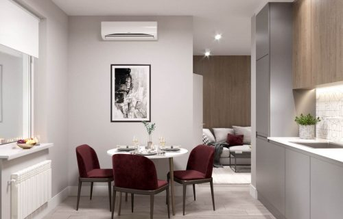 Дизайн інтер'єр кухні вітальні